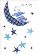 New Baby Boy Greeting Card - Over the Moon